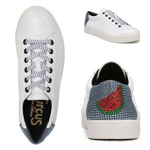 SAM EDELMAN White Blue Watermelon Sneakers NIB